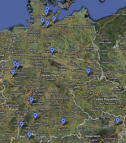 Google Map Übersicht der Stendorte aller Teilnehmer